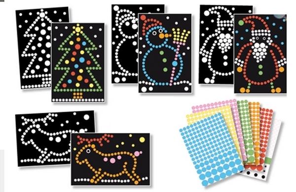 4 tableaux de gommettes A4 et 600 gommettes-Noël