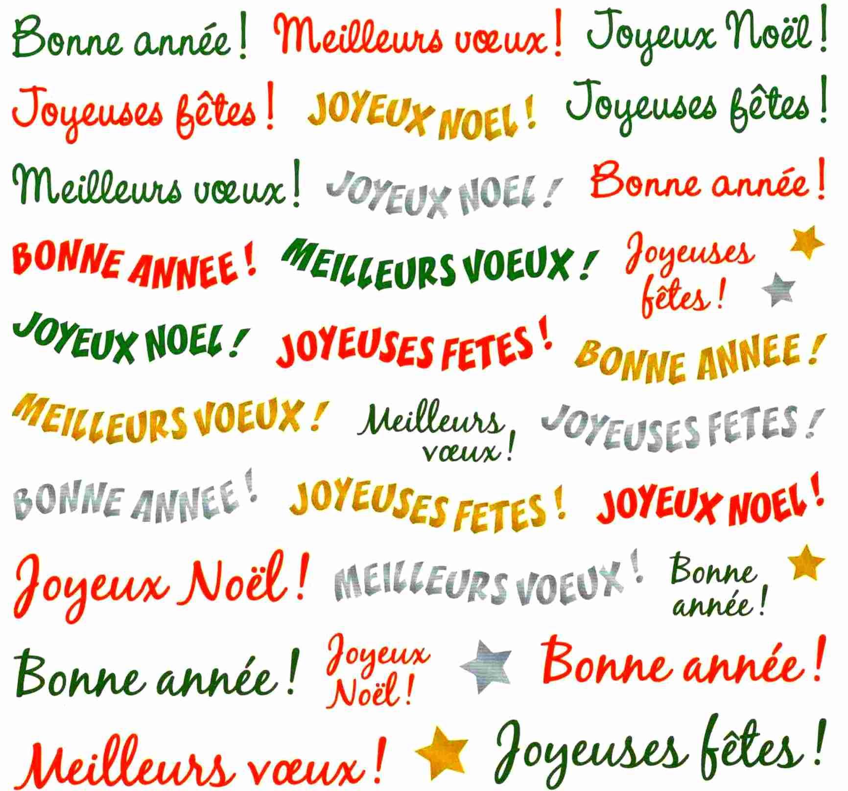 60 Gommettes texte Noël, Voeux, Bonne Année