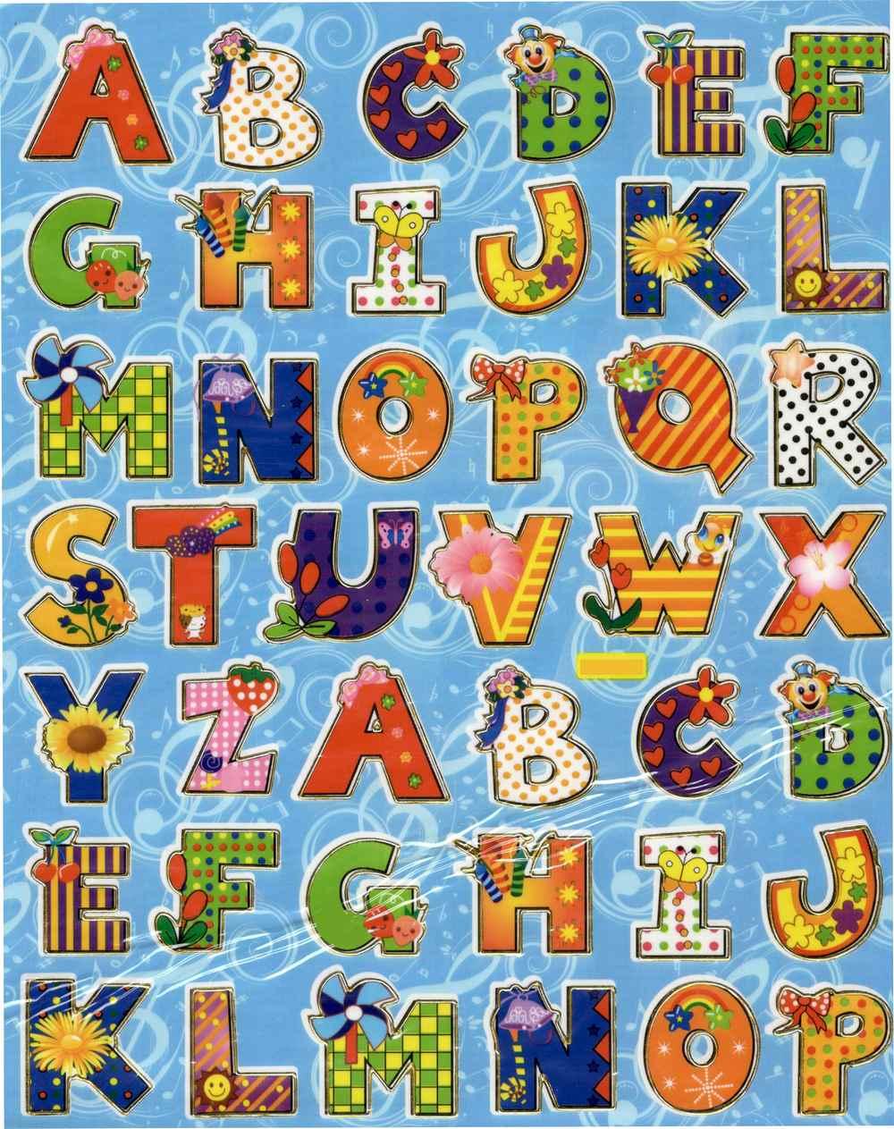 42 lettres autocollantes fantaisie gommettes chiffres et lettres magommette. Black Bedroom Furniture Sets. Home Design Ideas