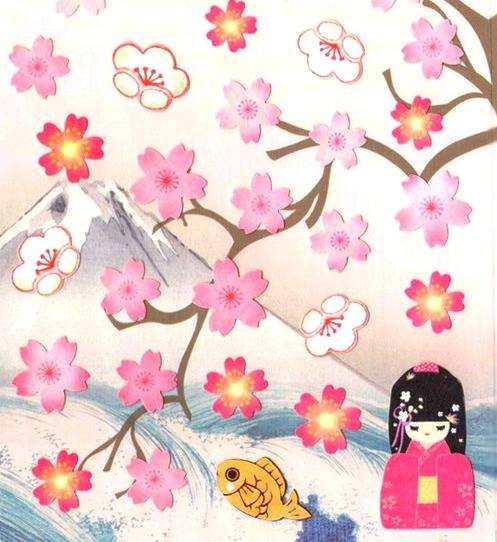 40 gommettes fleurs de cerisier japonais