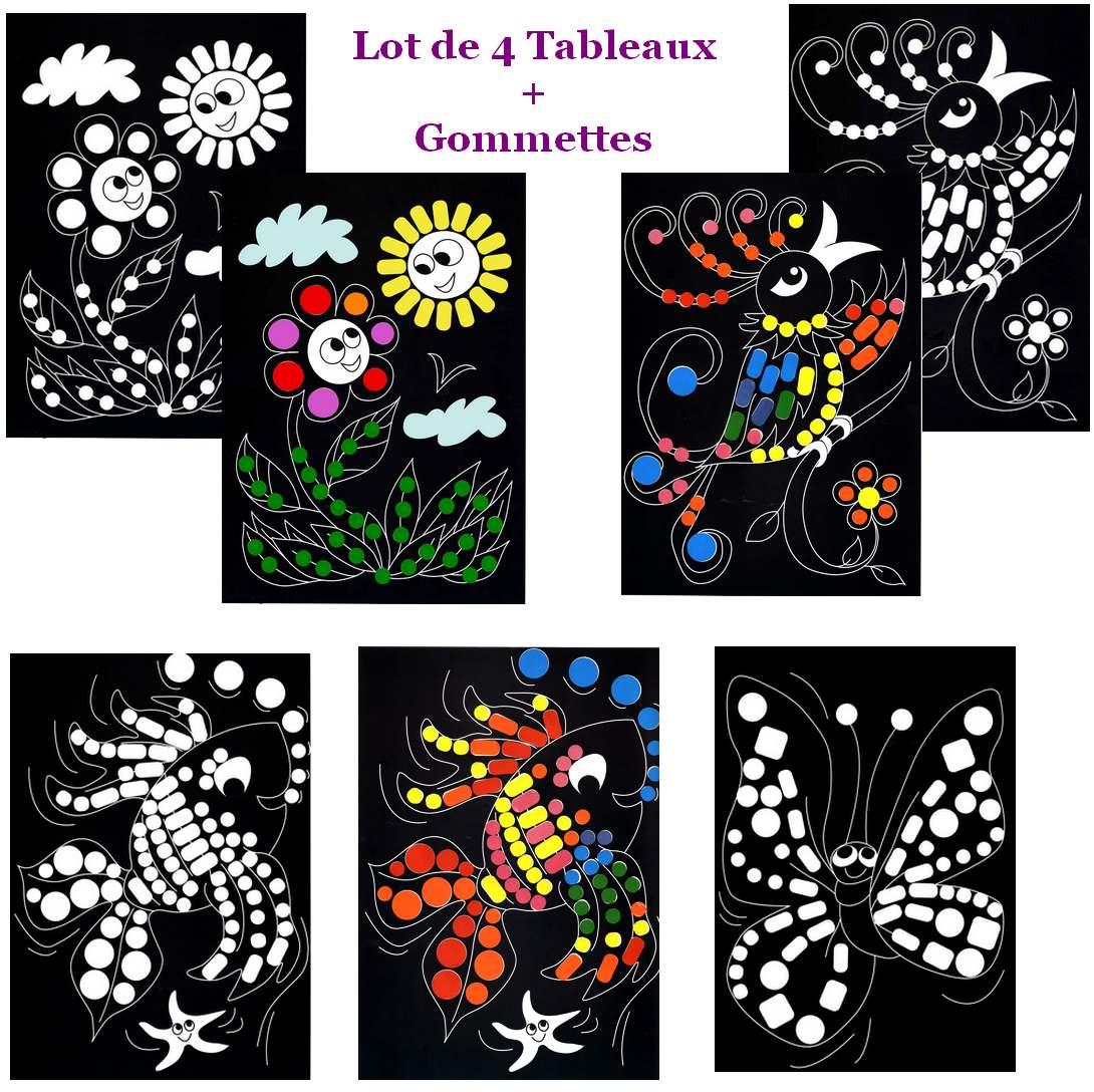 4 tableaux A4 et 728 gommettes - Fleurs et Animaux