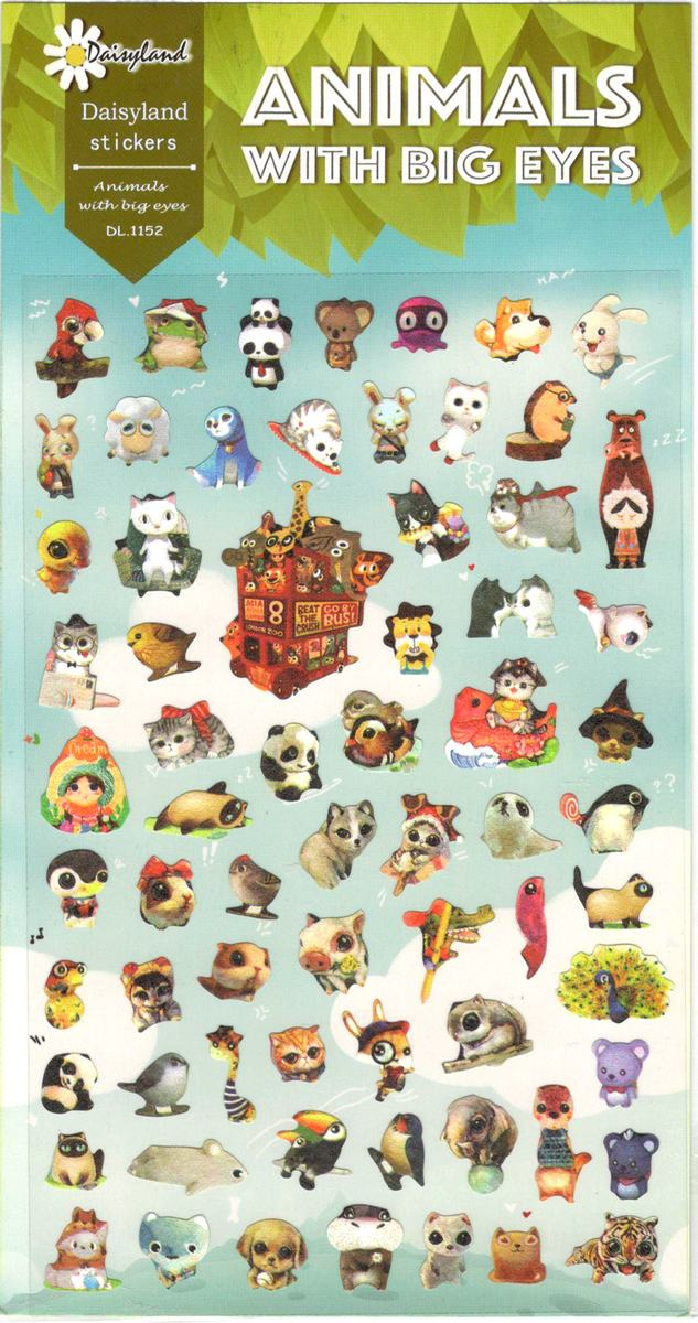 68 petits stickers animaux grands yeux gommettes - Animaux a gros yeux ...