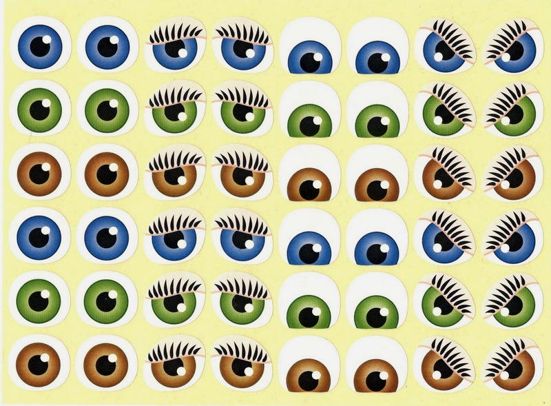 48 yeux autocollants expressifs