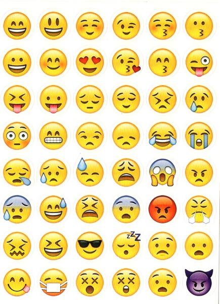 48 stickers smiley emojis gommettes enfants gommettes maternelle magommette - Image de smiley a imprimer ...