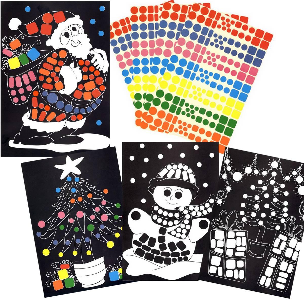 4 tableaux A4 et 728 gommettes - Noël