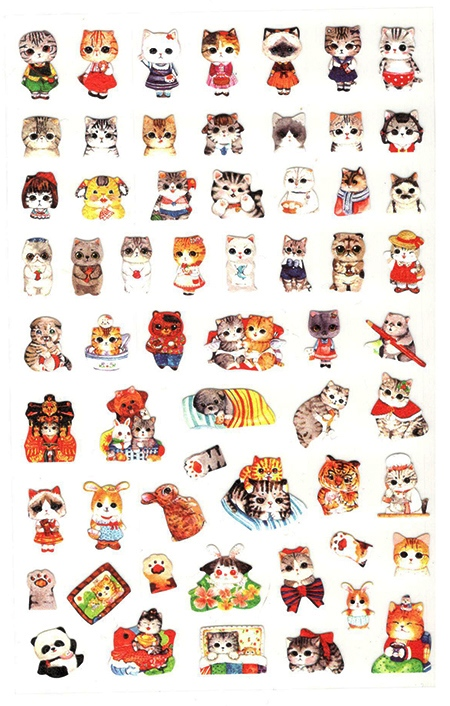 60 gommettes chats à gros yeux