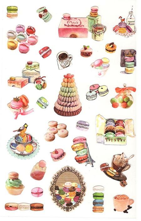 30 gommettes délicieux macarons
