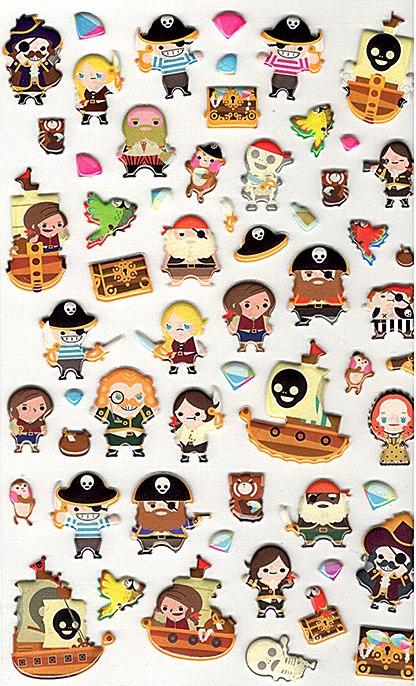 50 stickers en résine époxy 3D Petit Pirate