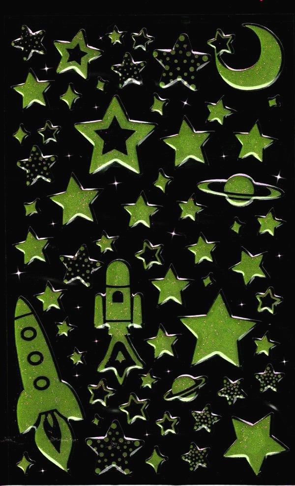60 Gommettes Etoiles, Planètes et Fusées phosphorescentes