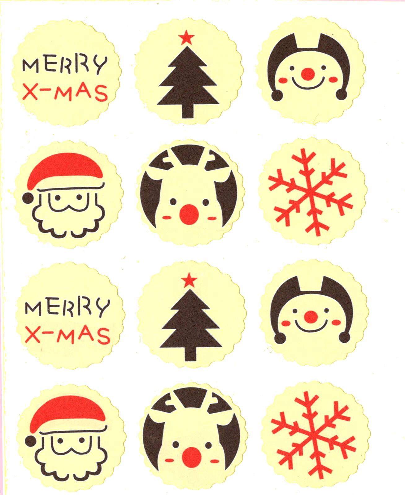 12 gros stickers Noël en papier