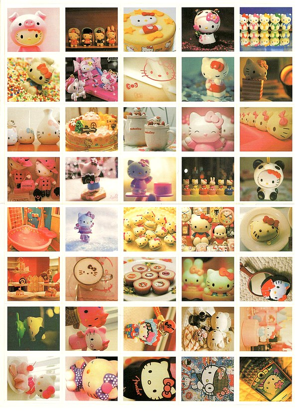 40 gros Stickers-photos Hello Kitty