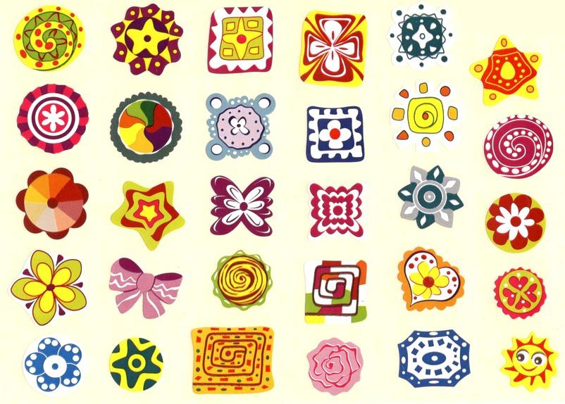 30 grosses Gommettes Fleurs et Design graphiques