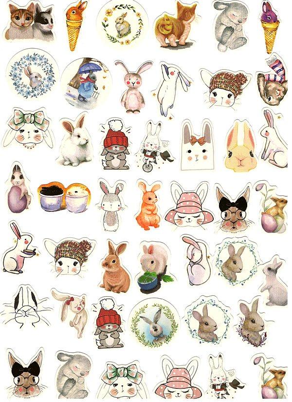 Boite de 45 Stickers Lapins