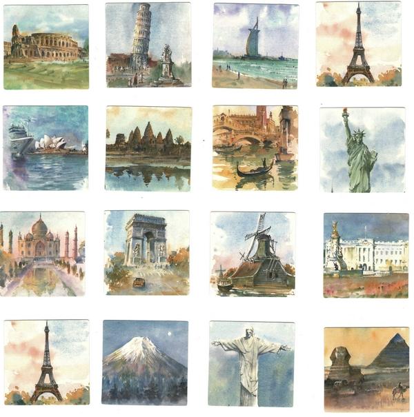 Boite de 45 Stickers Villes du Monde