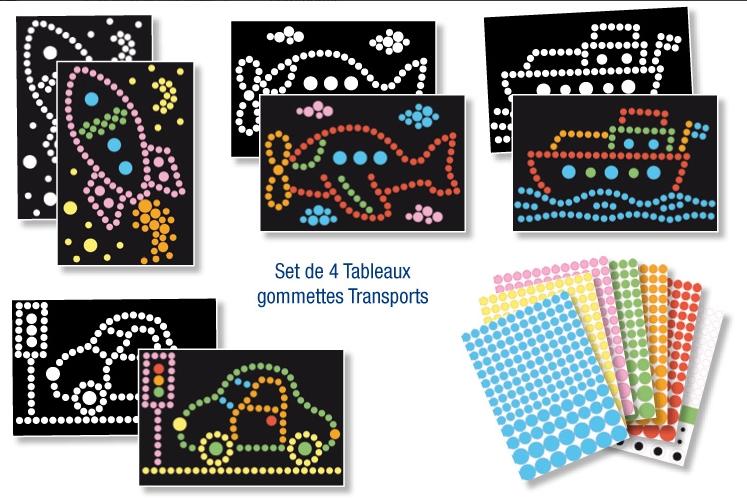 4 tableaux de gommettes A4 et 600 gommettes  - Transports