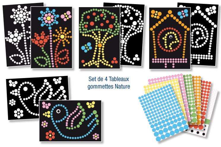 4 tableaux de gommettes A4 et 600 gommettes - Nature