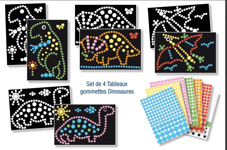 4 tableaux de gommettes A4 et 600 gommettes  - Dinosaures
