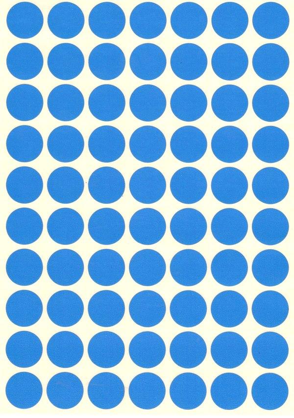 70 gommettes rondes Bleu Ciel 19mm