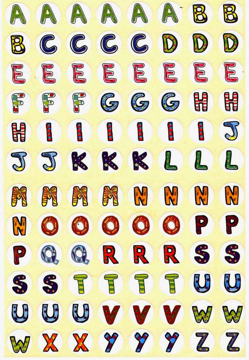 96 Gommettes Alphabet coloré repositionnables