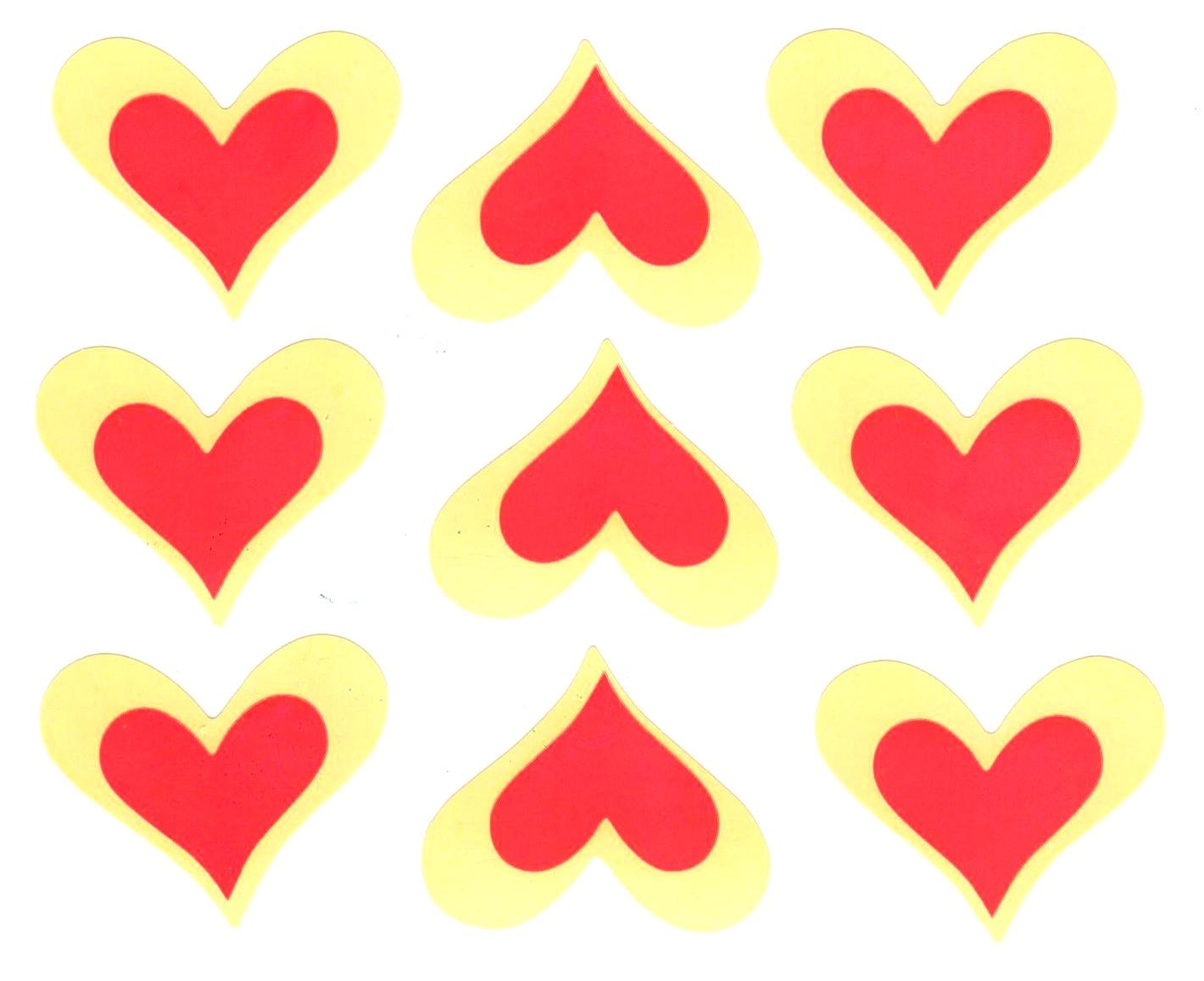 9 Gommettes Coeurs rouges stylisés