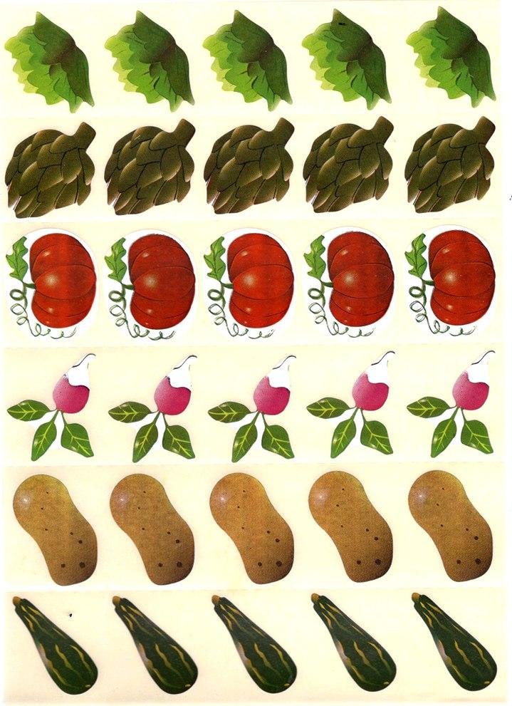30 Gommettes Légumes du Potager