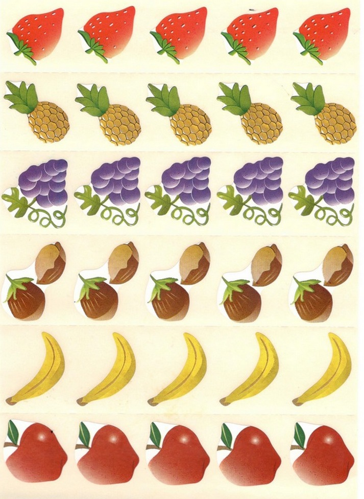 30 gommettes Fruits