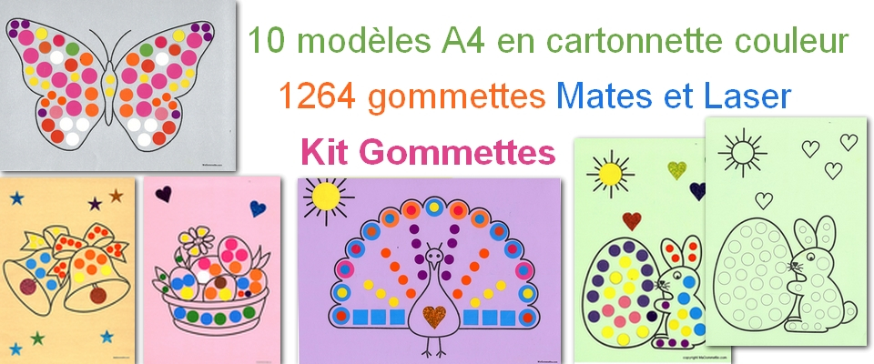 kit 10 modeles A4 en carton coloré