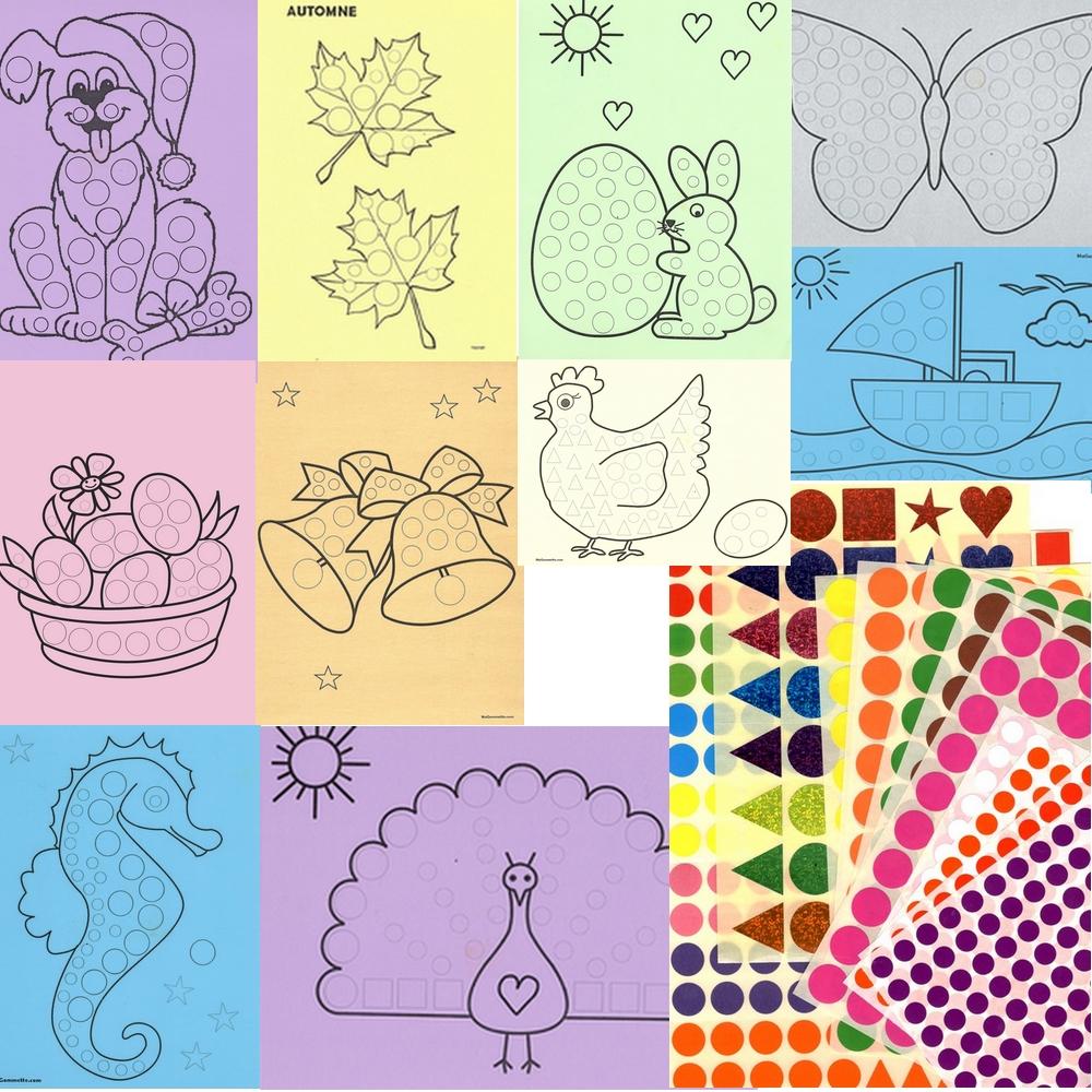 10 tableaux A4 et 1264 gommettes - Kit Gommettes MAXI