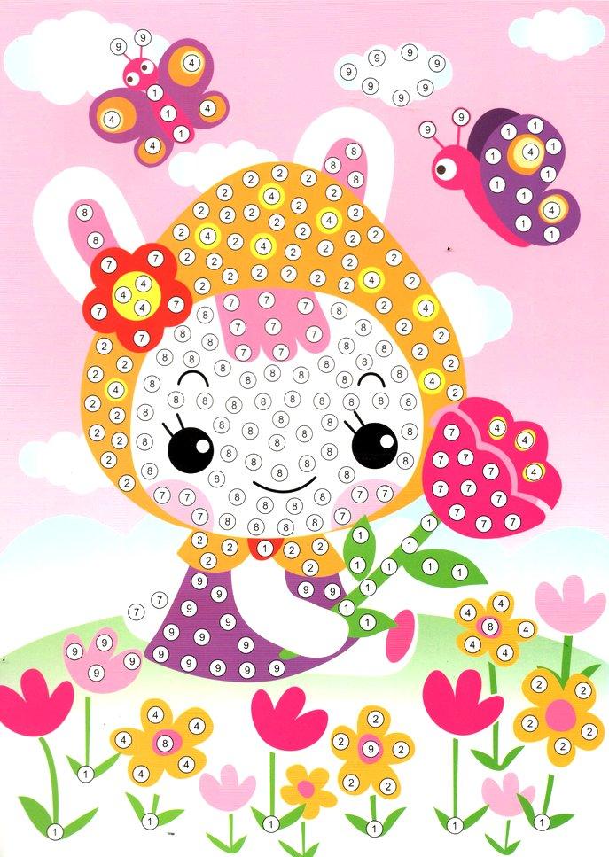 Puzzle mosaïque strass Bébé et papillons