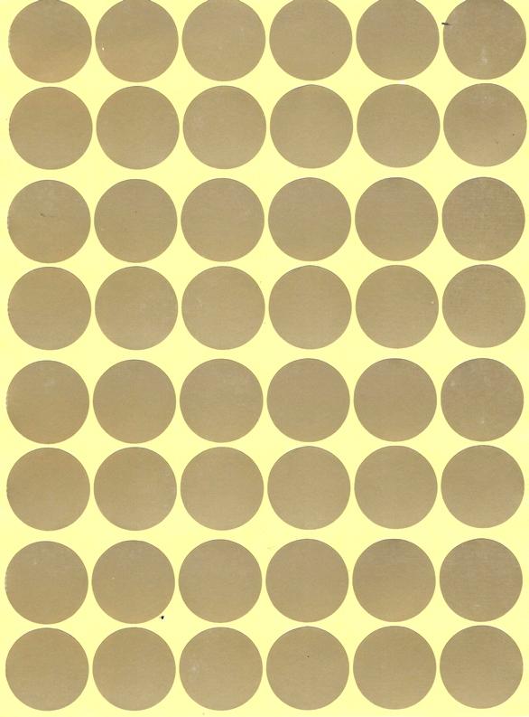 48 Gommettes dorées 25 mm mates