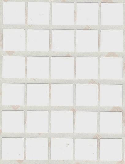 30 gommettes carrées 2 cm X 2 cm Blanches
