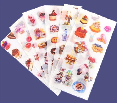Lot 6 planches de stickers  Délicieux Goûter
