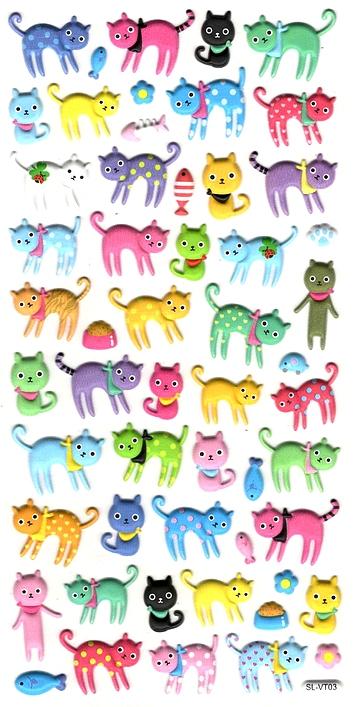 54 Gommettes 3D Chats et chatons colorés
