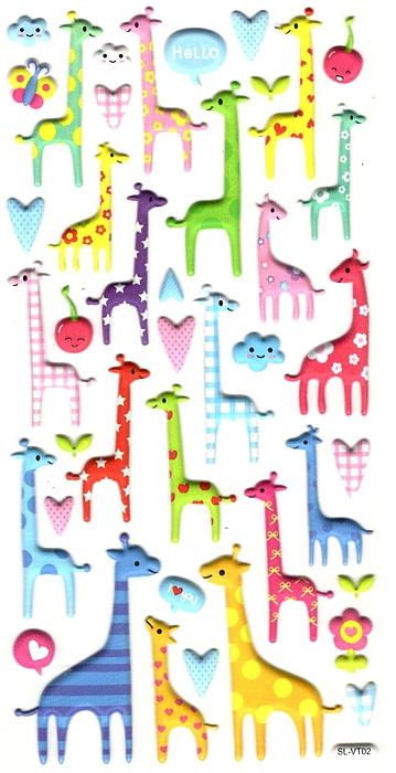 Gommettes 3D Girafes colorées