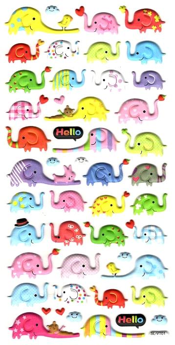 Gommettes 3D Éléphants colorés
