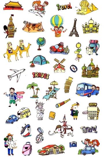 40 Stickers souples Voyage dans le Monde