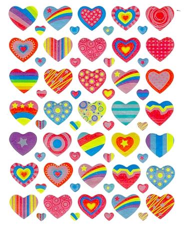 70 stickers irisés Coeurs colorés