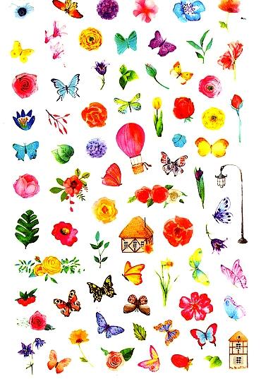 80 petits stickers Fleurs et Papillons