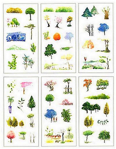 6 planches stickers Arbres et Paysages