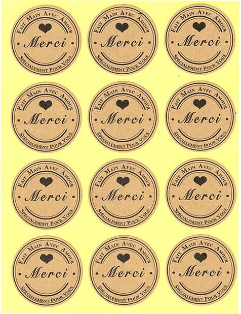 12 Étiquettes dorées MERCI Fait main avec Amour Spécialement pour Vous