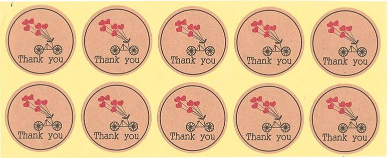 Étiquettes rondes dorées Thank You Vélo