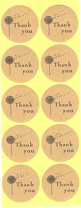 10 étiquettes rondes dorées Thank You Fleur
