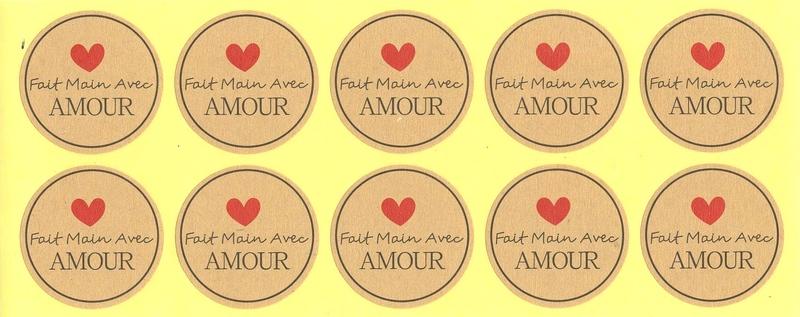 Étiquettes rondes dorées Fait Main Avec Amour
