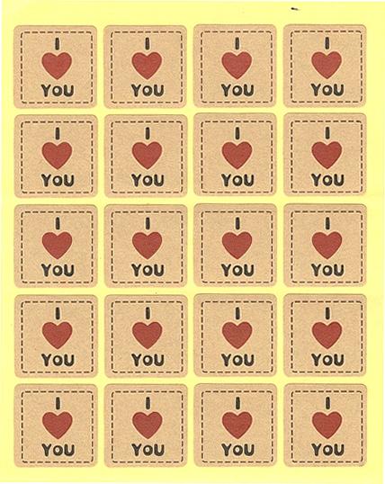 Étiquettes dorées I Love You c?ur rouge