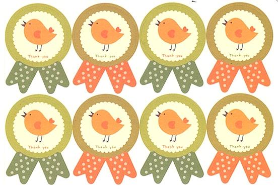Etiquettes Thank You avec oiseau