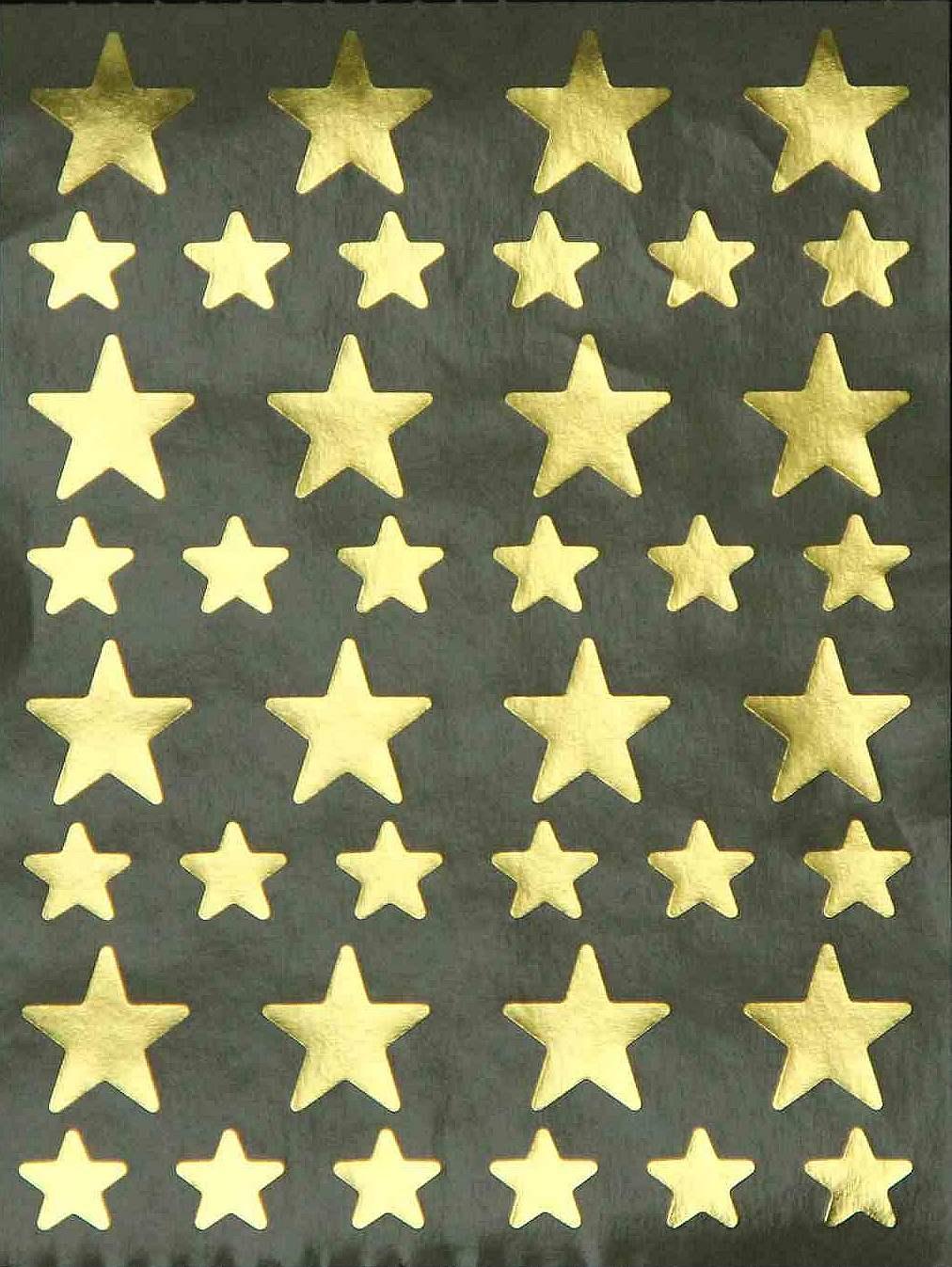 40 Gommettes Etoiles Dorées Métallisées 1,2 et 2,2cm