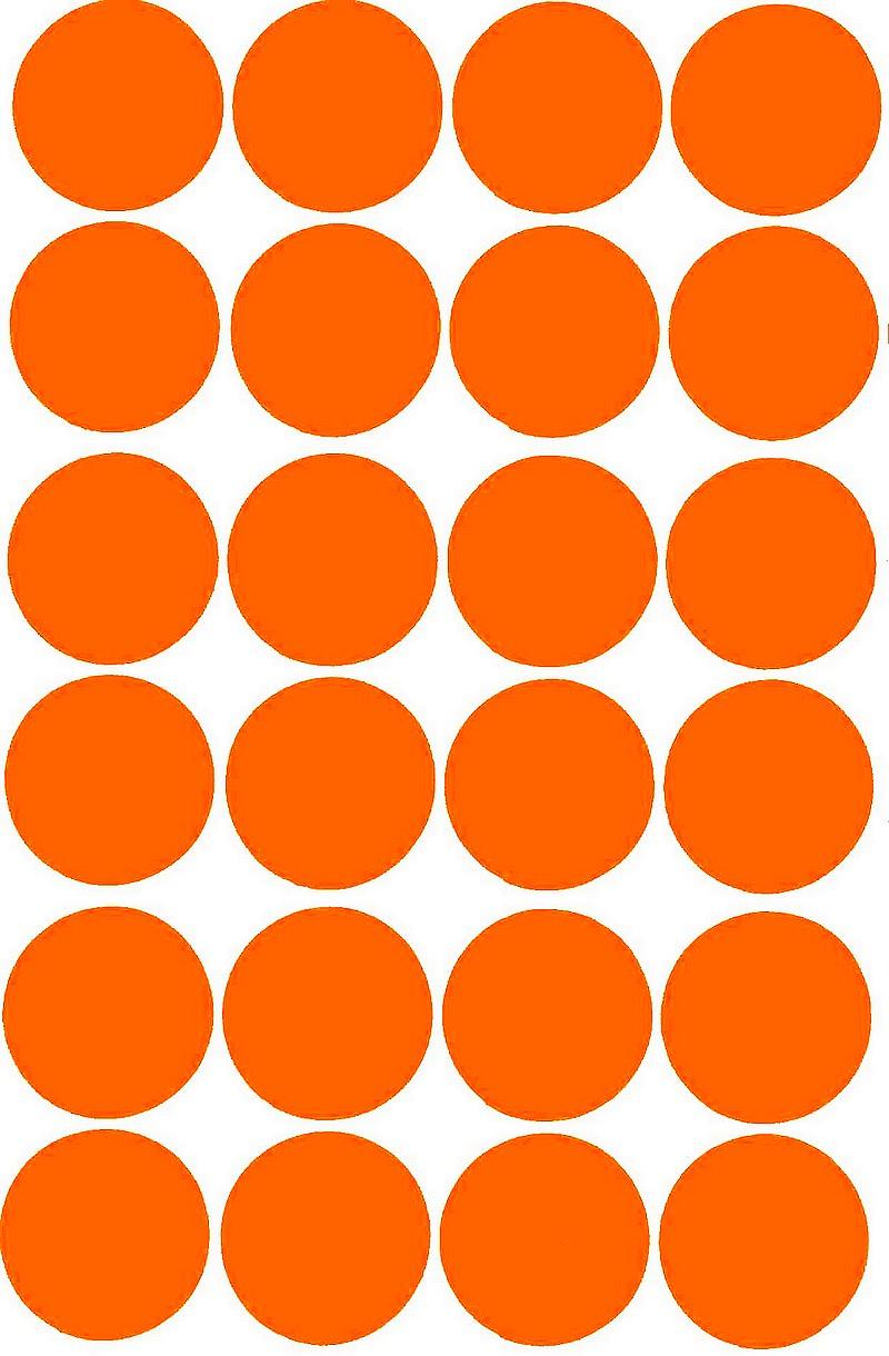 24 grosses gommettes rondes oranges 30mm