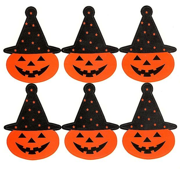 6 gros Stickers Citrouilles d\'Halloween