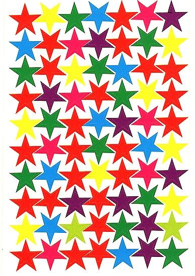 70 Gommettes papier Etoiles colorées