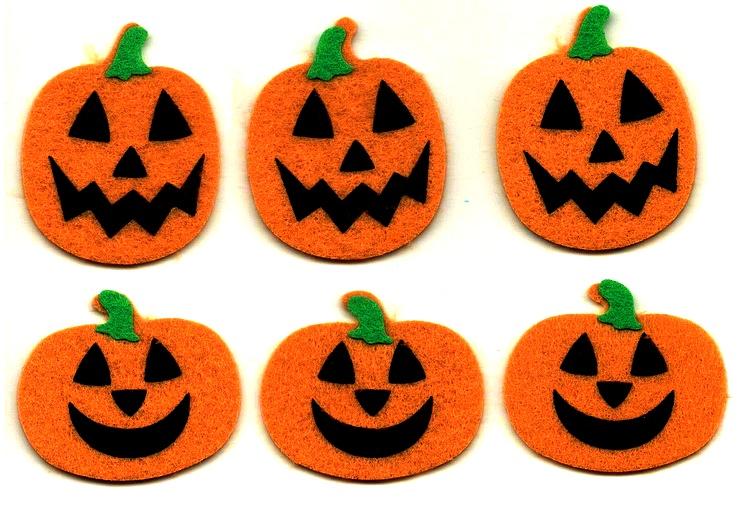 6 gros stickers Citrouilles d\'Halloween en feutrine